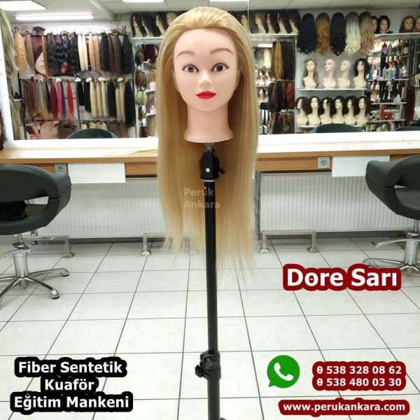Kuaför Eğitim Mankeni 60 Cm Dore Sarı Renk Fiber Sentetik Ankara Kuaför Eğitim Mankeni